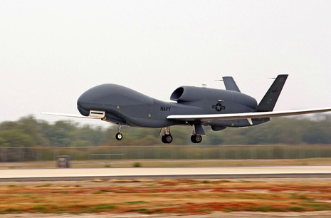 The Navy's Broad Area Marine Surveillance Demonstrator, the Navy's version of the Global Hawk, lands at Pax River. (Photo courtesy of NAVAIR)