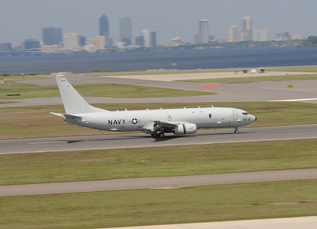 The P-8A Poseidon lands at Jacksonville Naval Air Station.