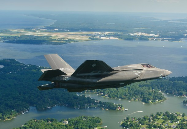 The fifth Lockheed Martin F-35B Lightning II Short Take Off/Vertical Landing (STOVL) flight test aircraft delivered to the Marine Corps arrives at Naval Air Station (NAS) Patuxent River, Md., Saturday, July 16. BF-5 is the seventh F-35 delivered in 2011 and the third aircraft delivered to NAS Patuxent River this year. (Lockheed Martin photo by Liz Kaszynski)