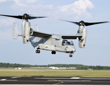 A U.S. Marine Corps MV-22 Osprey lifts off from Naval Air Station Patuxent River, during a successful biofuel test flight. The tilt-rotor aircraft flew at altitudes of up to 25,000 feet on a 50-50 blend of camelina based biofuel and standard petroleum based JP-5 fuel. (U.S. Navy photo)