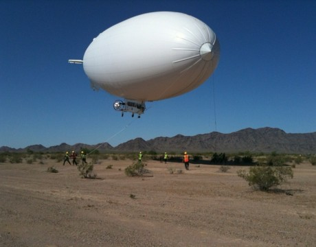 Navy photo of an MZ-3 Warlock blimp being tested in Yuma, Ariz.