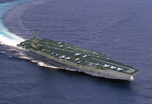 An artist's rendering of the finished USS Ford.