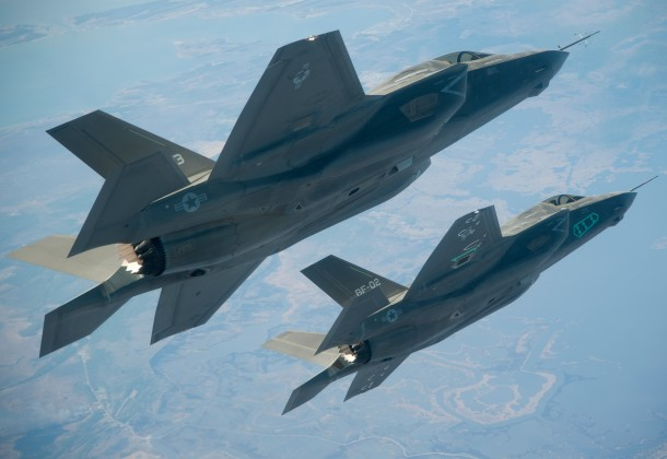 U.S. Navy photo of two F-35B Lightning II Joint Strike Fighters