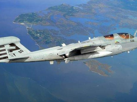 "An EA-6B Prowler from the ""Salty Dogs"" of Air Test and Evaluation Squadron 23 (VX-23) flies over Southern Maryland on a biofuel blend of JP-5 aviation fuel and camelina oil."