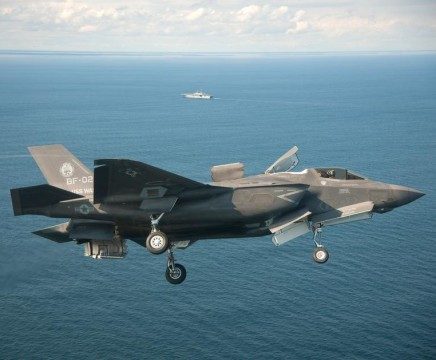ATLANTIC OCEAN (Oct. 3, 2011) An F-35B Lightning II conducts initial sea trials over the Atlantic Ocean. The F-35B is the Marine Corps Joint Strike Force variant of the Joint Strike Fighter and is designed for short takeoff and vertical landing on Navy amphibious ships. The aircraft is operating with the amphibious assault ship USS Wasp (LHD 1). ( photo courtesy of Lockheed Martin)