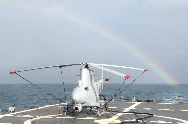 The MQ-8 Fire Scout rotary-wing unmanned air vehicle gears up for its third at-sea deployment aboard the frigate USS Simpson in January. (U.S. Navy Photo)