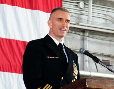 Cmdr. Thomas Tennant addresses VX-23 for the first time as its new commander.
