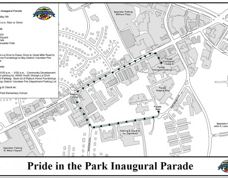 Pride in the Park Parade map
