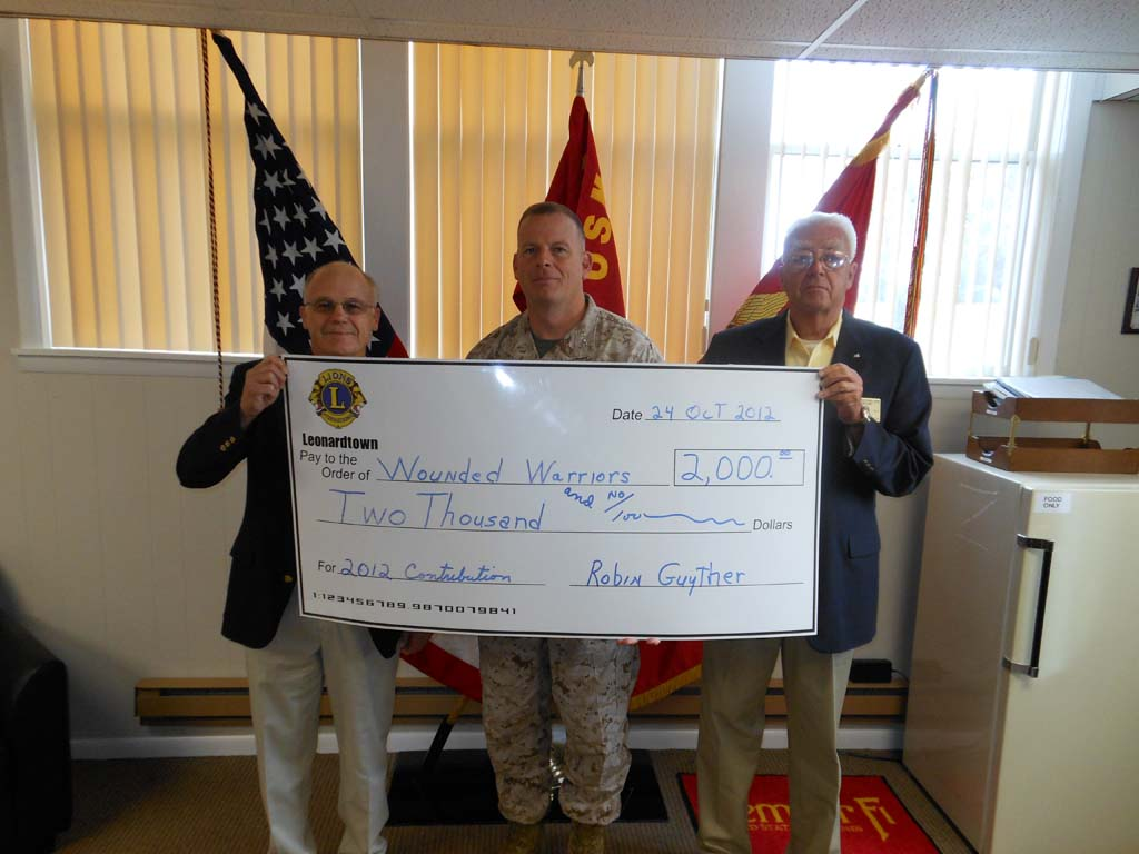 Lions Club Wounded Warriors check