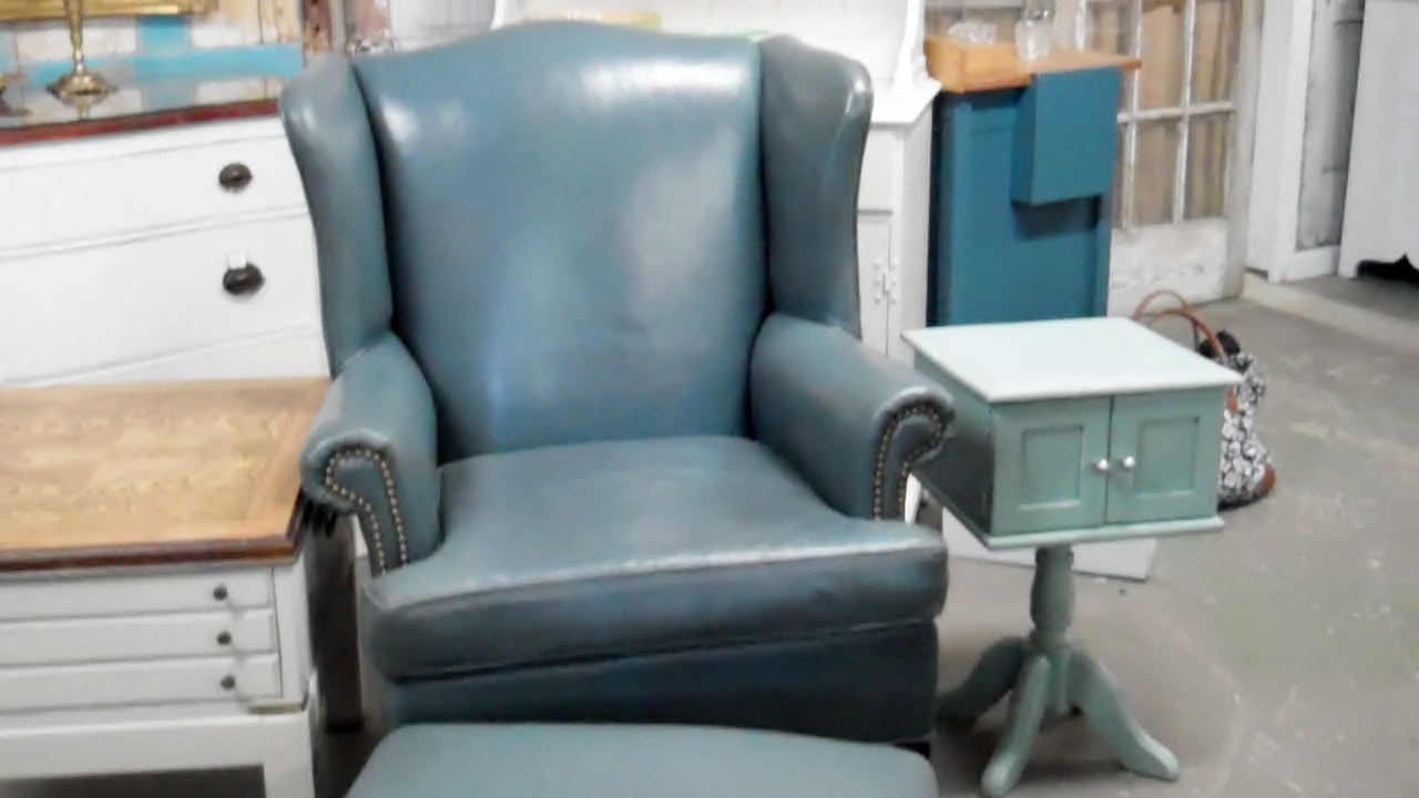 Superieur Blue Slate Leather Chair And Ottoman
