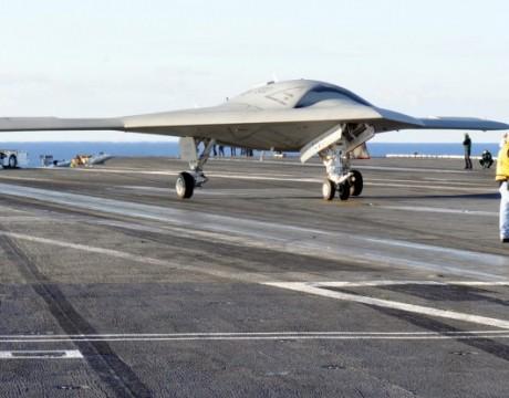 X-47B UCAS-D on USS Truman