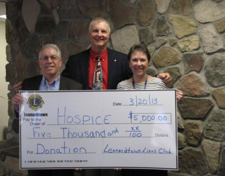 Lions' Hospice check