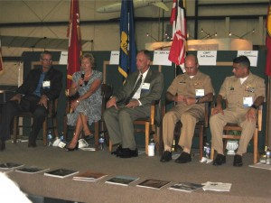 Moderator Carroll at left with panelists (l-r) Taylor, Amy, Davila and Lemmon.