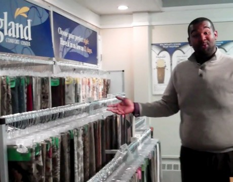 Kevin Chase shows of England's fabrics at Raley's Home Furnishings 0 00 07-25