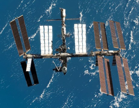 ISS as seen in 2008 from the departing space shuttle